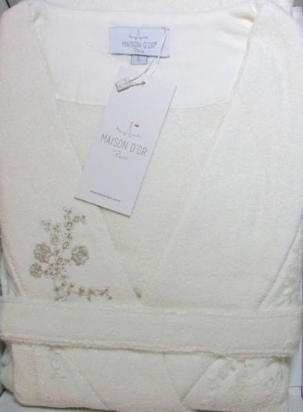 Женский халат бамбуковый Maison D'or Neria с кружевом кремовый