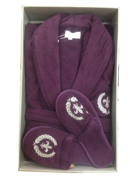 Мужской махровый халат Maison Dor Seymour с воротником и тапками фиолетовый