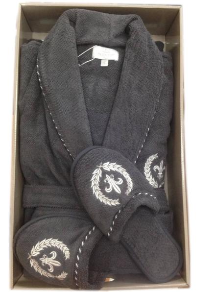 Мужской махровый халат Maison Dor Seymour с воротником и тапками серый