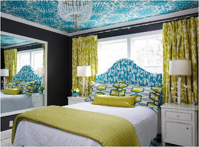 turquoise-blue-bedroom-black-walls