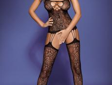 Obsessive Bodystocking F208 black боди-комбинезон